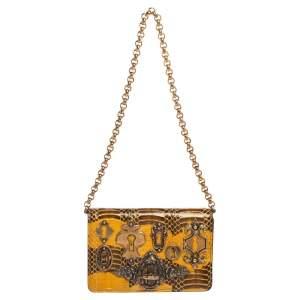 Dolce & Gabbana Yellow Watersnake Ginevra Shoulder Bag