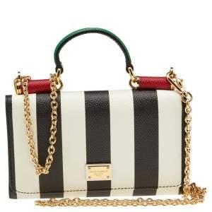 Dolce & Gabbana White/Black Strip Leather Miss Sicily Von Wallet on Chain