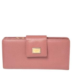 Dolce & Gabbana Pink Dauphine Leather Continental Wallet