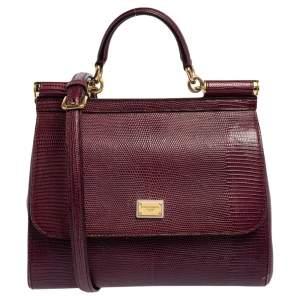 Dolce & Gabbana Burgundy Lizard Embossed Leather Medium Miss Sicily Bag
