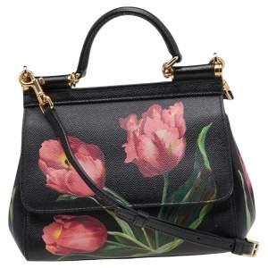 Dolce & Gabbana Black Floral Print Leather Miss Sicily Top Handle Bag
