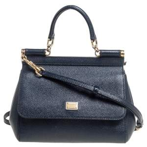 Dolce & Gabbana Navy Blue Leather Small Miss Sicily Top Handle Bag