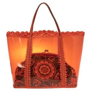 Dolce & Gabbana Orange Whipstitch Raffia and PVC Miss Escape 2 in 1 Tote