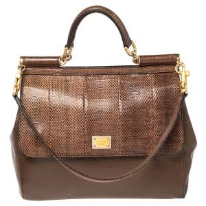 Dolce & Gabbana Brown Snakeskin and Leather Large Miss Sicily Top Handle Bag