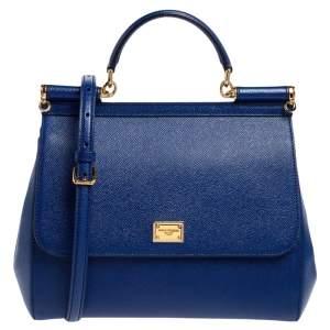 Dolce & Gabbana Blue Dauphine Leather Regular Miss Sicily Top Handle Bag