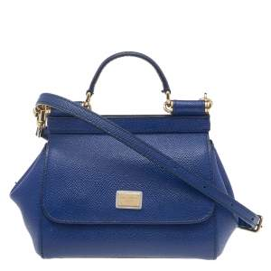 Dolce & Gabbana Blue Leather Micro Miss Sicily Top Handle Bag
