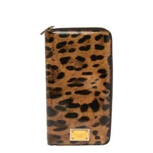 Dolce & Gabbana Brown Leopard Print Patent Leather Zip Around Organizer Wallet