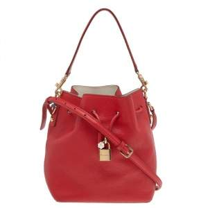 Dolce & Gabbana Red Leather Claudia Drawstring Bucket Bag