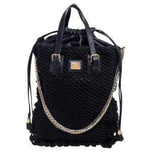 Dolce & Gabbana Black Crochet Fabric and Leather Miss Helen Tote