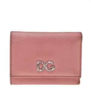 Dolce & Gabbana Pink Leather DG Crystal Embellished Trifold Wallet
