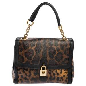 Dolce & Gabbana Black/Brown Leopard Print Coated Canvas and Leather Padlock Top Handle Bag