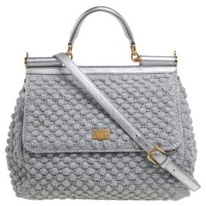 Dolce & Gabbana Metallic Silver Crochet and Leather Large Miss Sicily Top Handle Bag