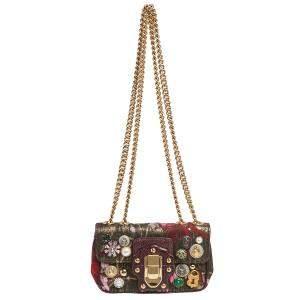 Dolce & Gabbana Multicolor Jacquard Lurex Fabric and Snakeskin Mini Lucia Embellished Crossbody Bag