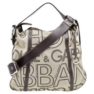 Dolce & Gabbana Beige/ Brown Canvas and Leather Shoulder Bag