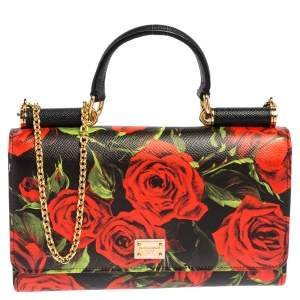 Dolce & Gabbana Multicolor Printed Leather Sicily Smart Gloss Wallet on Chain