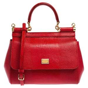 Dolce & Gabbana Red Croc Embossed Leather Small Miss Sicily Top Handle Bag
