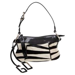 Dolce & Gabbana Black/White Zebra Print Calfhair and Patent Leather Baguette