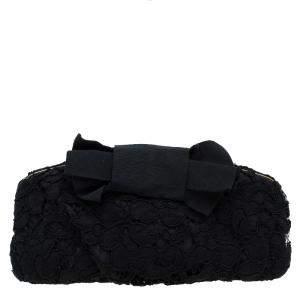 Dolce & Gabbana Black Lace Bow Evening Bag
