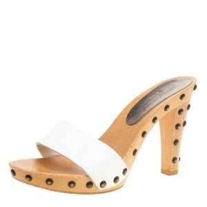 Dolce & Gabbana White Leather Wooden Platform Slides Size 38.5