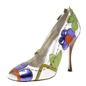 Dolce & Gabbana Multicolor Leather Floral Detail Peep Toe Pumps Size 40