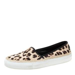 Dolce & Gabbana Two Tone Leopard Printed Canvas Espadrille Sneakers Size 40