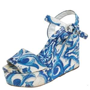 Dolce & Gabbana Blue/White Majolica Print Canvas Ankle Strap Wedge Sandals Size 38.5