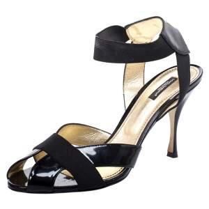 Dolce & Gabbana Black Patent Leather Elastic Ankle Strap Sandals Size 41