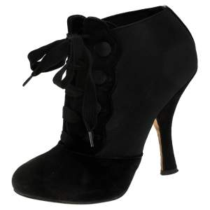Dolce & Gabanna Black Velvet and Elastic Band Lace Up Booties Size 37