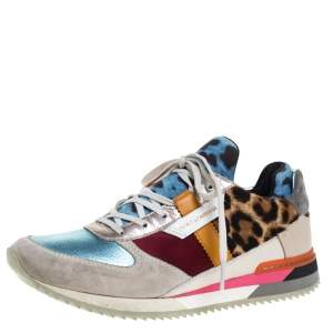 Dolce and Gabbana Multicolor Leather, Suede And Pony Hair Celeste Sabbia Low Top Sneakers Size 38