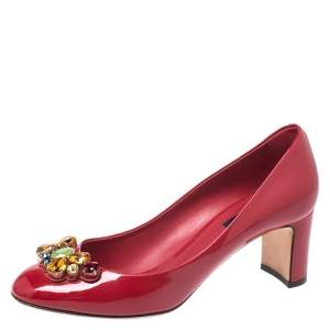 Dolce & Gabbana Red Patent Leather Crystal Embellished Pumps Size 38