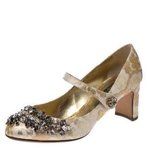 Dolce & Gabbana White/Gold Brocade Fabric Crystal Embellished Mary Jane Pumps Size 37