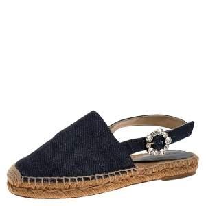 Dolce & Gabbana Denim Fabric  Embellished Slingback Espadrille Flats Size 36