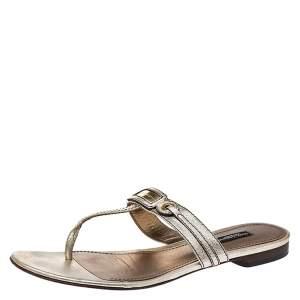 Dolce & Gabbana Metallic Gold Leather Thong Slide Sandals Size 40