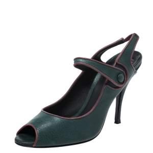 حذاء كعب عالي دولتشي أند غابانا ماري جين جلد أخضر مقدمة مفتوحة مقاس 40