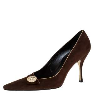 Dolce & Gabbana Brown Suede Embellished Pointed Toe Pumps Size 39