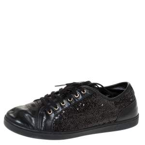 Dolce & Gabbana Black Sequins and Leather Cap Toe Low Top Sneakers Size 38