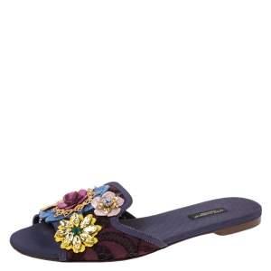 Dolce & Gabbana Brown/Purple Lace Crystal Flower Embellished Flat Slides Size 39