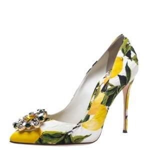Dolce & Gabbana Multicolor Lemon Print Belluci Pointed Toe Pumps Size 37