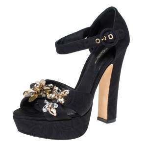 Dolce & Gabbana Black Floral Fabric Embellished Platform Ankle Strap Sandals Size 36