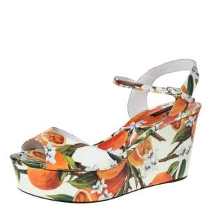 Dolce & Gabbana Orange Print Patent Leather Ankle Strap Platform Wedge Sandals Size 41