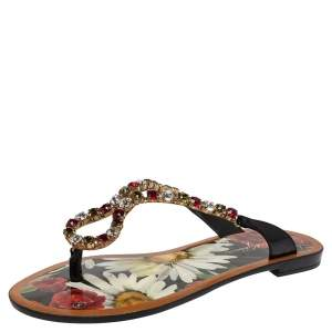 Dolce & Gabbana Multicolor Crystal Embellished Patent Leather Thong Slides Size 38