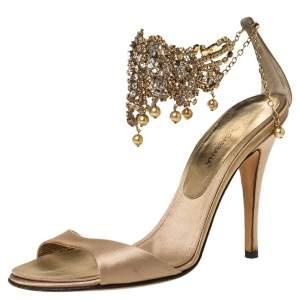 Dolce & Gabbana Beige Satin Crystal Embellished Ankle Strap Sandals Size 36
