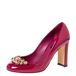 Dolce & Gabbana Cherry Pink Patent Leather Crystal Embellished Pumps Size 38
