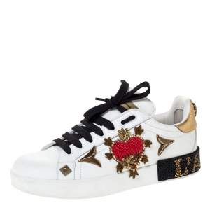Dolce and Gabbana White Leather Portofino Heart Embellished Low Top Sneakers Size 38