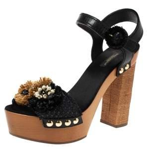 Dolce & Gabbana Black/Brown Leather And Raffia Embellished Platform Ankle Strap Sandals Size 40