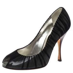 Dolce & Gabbana Black Mesh Fabric And PVC Peep Toe Pumps Size 37.5
