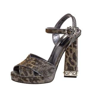 Dolce & Gabbana Silver/Gold Leopard Print Glitter Fabric Ankle Strap Block Heel Sandals Size 37