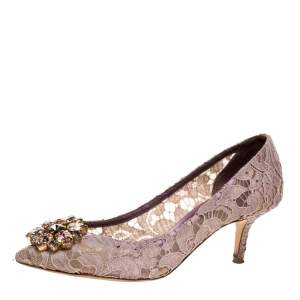Dolce & Gabbana Beige Lace Crystal Embellished Lace Bellucci Pointed Toe Pumps 37.5