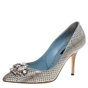 Dolce & Gabbana Grey Python Leather Crystal Embellished Pointed Toe Pumps Size 38