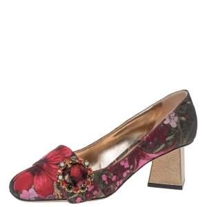 Dolce & Gabbana Floral Jacquard Fabric Pyramid Heel Pumps Size 38.5
